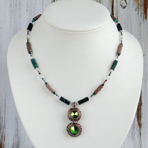 Crystal Drop Necklace KIT_Swarovski Crystal_Scarabaeus Green