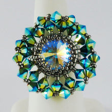 Kit_Calendula Flower Ring Kit_Peyote Stitch_Bead KIT_Swarovski Crystal_Peacock Green Blue_Antiqued Silver_Pattern_Peyote Ring