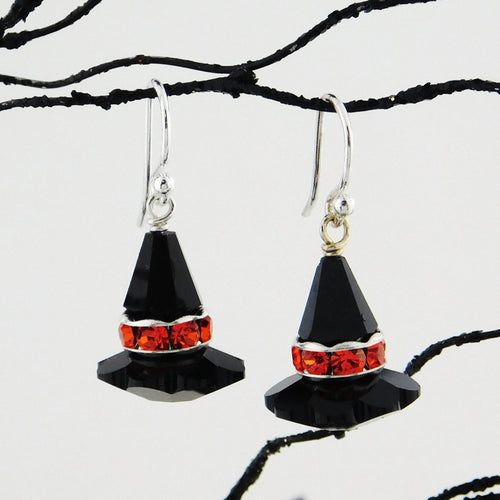 Witch Hat Earring Kit_ Vintage Swarovski Crystal_Black and Orange