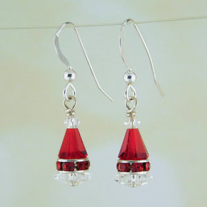 Crystal Santa Hat Earring Kit_Swarovski Crystal_RED Snow Ice Holiday Yule