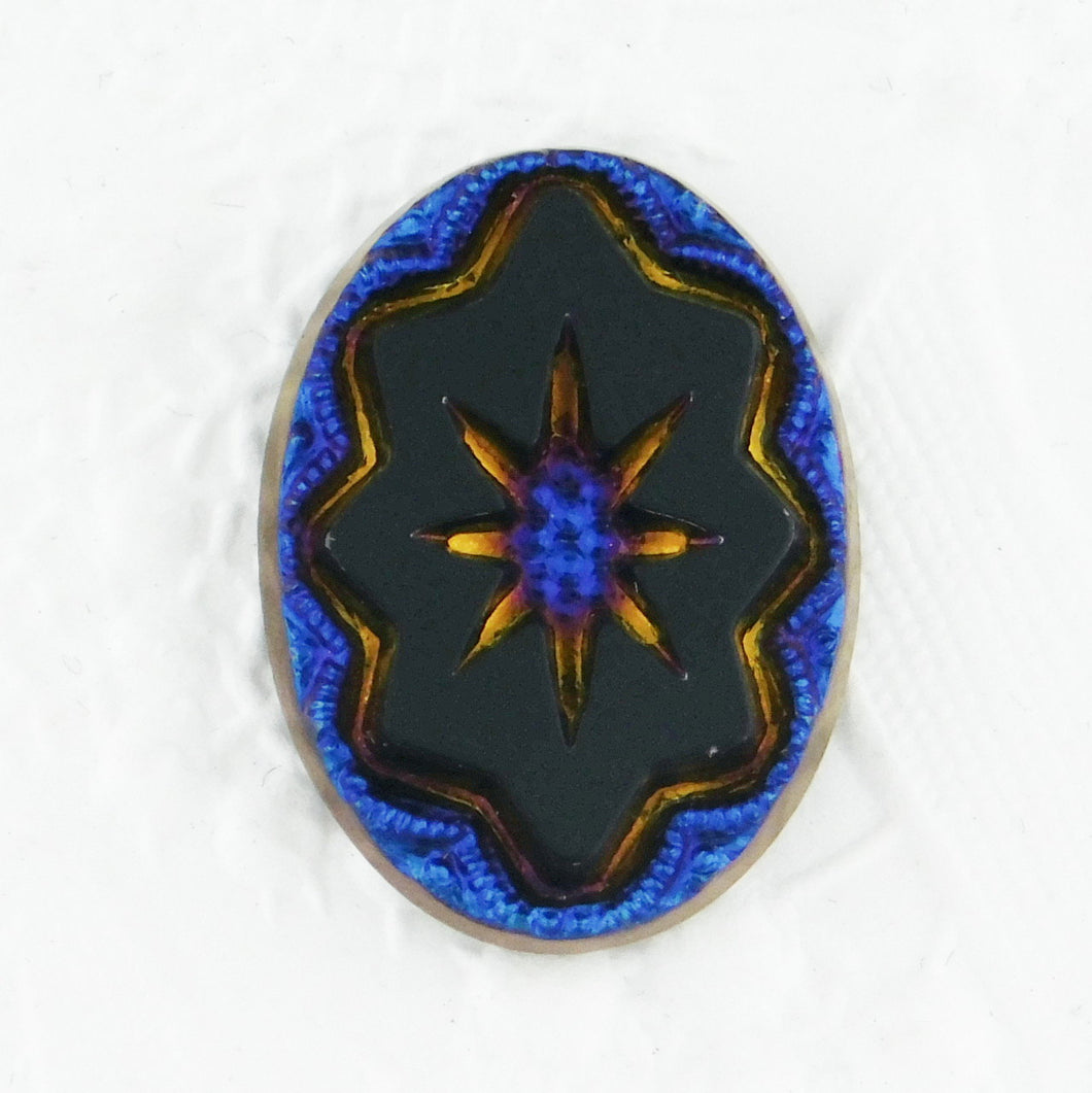18x13mm Starburst Glass Cabochon_Peacock Blue_Black
