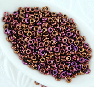 Toho Demi Rounds 8/0_3mm_Toho #502_Higher Metallic Amethyst_8 grams_Copper_donut_o beads_seed beads