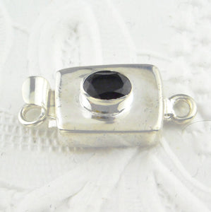 Silverfill-Box Clasp-Oval Onyx-Faceted-22x10mm-Rectangle Shape-Silverfilled-Findings-Catch-Black Tie-Formal-Jewelry Design