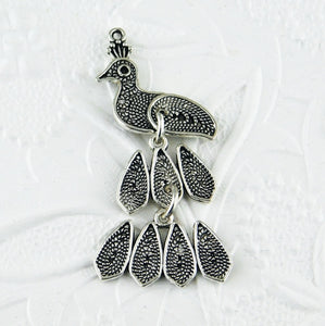 Peacock Pendants-4 pieces-56x26mm-Antiqued Silver-Bird-Peafowl-India-Bellydance-Light-Flight-Jewelry Design