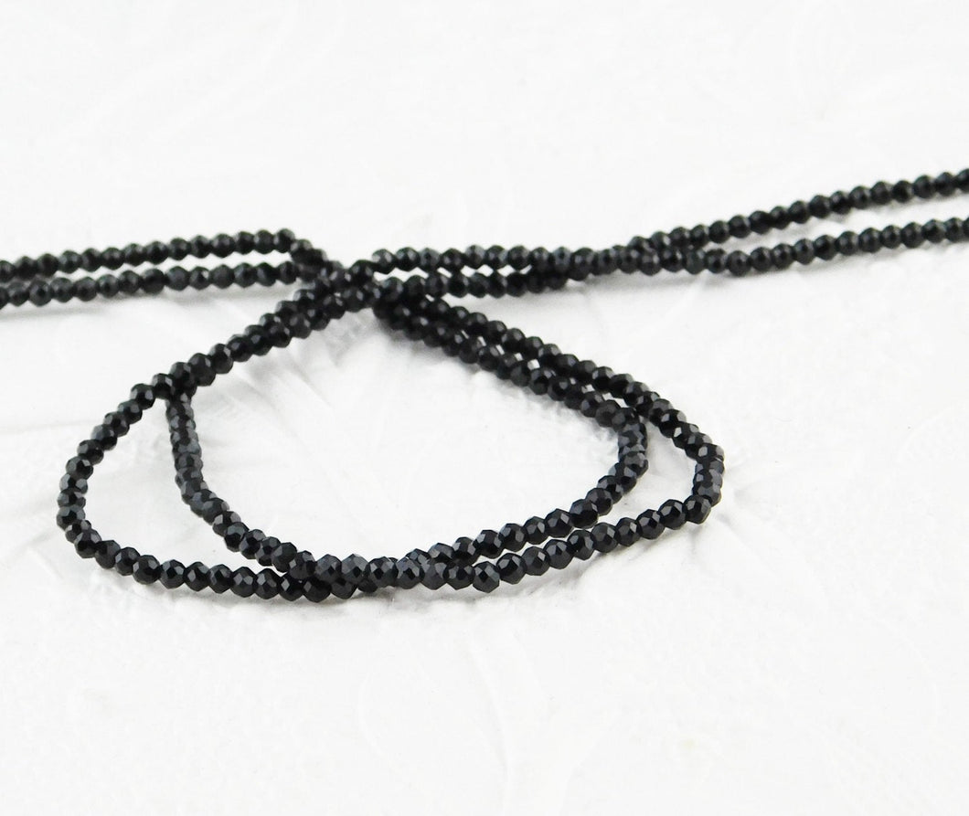 2mm Faceted Beads-Black Spinel-Tiny Beads-Strand-Natural-Dark-Jet Black-Doll Jewelry-Beading-Jewelry Design-Doll Making