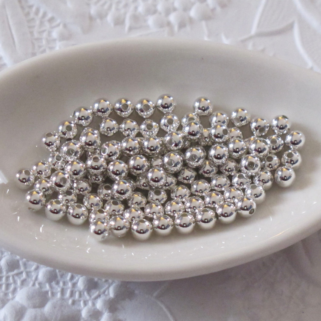 3mm Silver Plated Ball Beads_50 beads_Round Spacers
