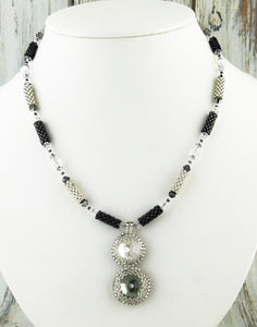 Crystal Drop Necklace KIT_Swarovski Crystal_Black Diamond_Grey and Silver_Peyote Stitch_Brick Stitch_Bridal Necklace