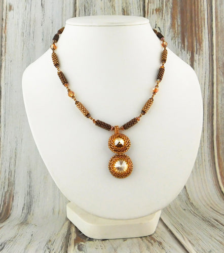 Crystal Drop Necklace KIT Swarovski Crystal Warm Browns Caramels and Gold Peyote Stitch Stringing