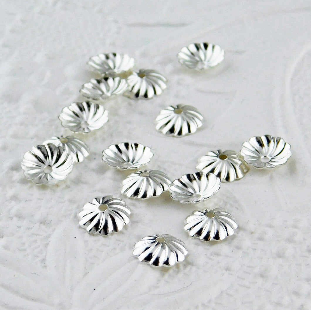 Silver Plate Pinwheel Bead Caps 7mm 20 pieces-stringing-jewelry design