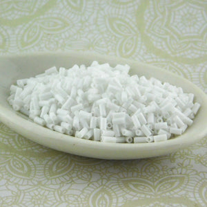 3mm Bugle Beads_Opaque White_9 grams_Miyuki #402_Glass Beads_Bugles
