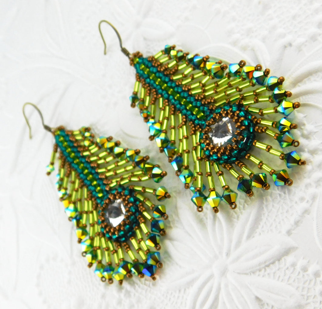 Peacock Feather Earring KIT_Teal_Lime