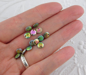 6mm Etched Lentils-Full Vitrail-Green-Pink-Textured-50 beads-Czech Glass-Jewelry Design-Dangle