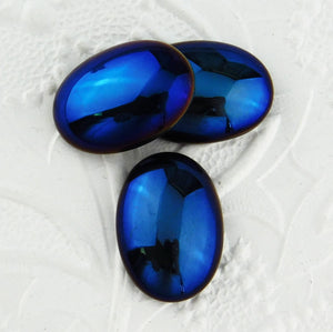 25x18mm-Blue Iris Glass Cab-Preciosa-Metallic Blue-Cabochon-Beadweaving-Bead Embroidery-Dark Blue-Oval