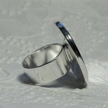 25mm Round Adjustable Bezel Ring_Silver Plated_Resin Ring Findings_