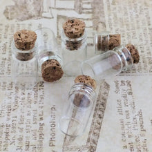 "Tiny Clear Glass_Apothecary Jars_Vials_Bottles_6 Pieces_7/8"" Dollhouse Miniature_Corked Bottles_Steampunk_Spice Jar_Potion"