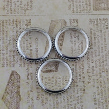 6 pieces_25mm Antiqued Silver Rings with Bead Detail_Connectors_Links_Pewter_