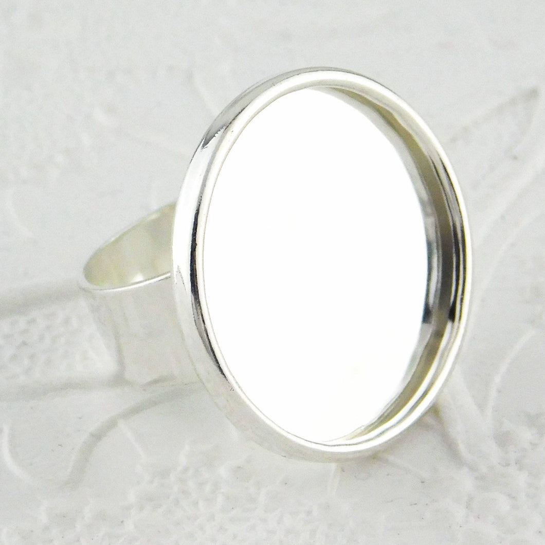 25mm Round Adjustable Bezel Ring_Silver Plated_Resin Ring Findings