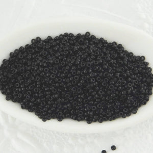 25 gram Bulk or 9 gram tube_15/0 Seed Beads_Opaque Black