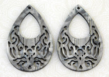 1) Grey Mother of Pearl Teardrop Pendant_Filigree_55x36mm