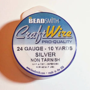 24 gauge Non Tarnish Fine Silver Plate Wire_10 Yards Spool_Dead Soft_Wirework_Jewelry Design