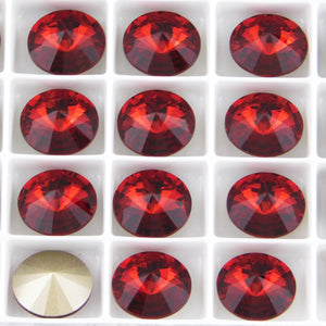 2) 14mm Swarovski Crystal Rivolis_Scarlet Red