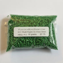 50 gram bulk pack_Opaque Grass Green_3mm Bugle Beads