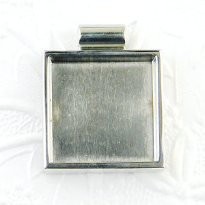 Square Resin Bezel_Shiny Silver_1-1/2x1-1/4""