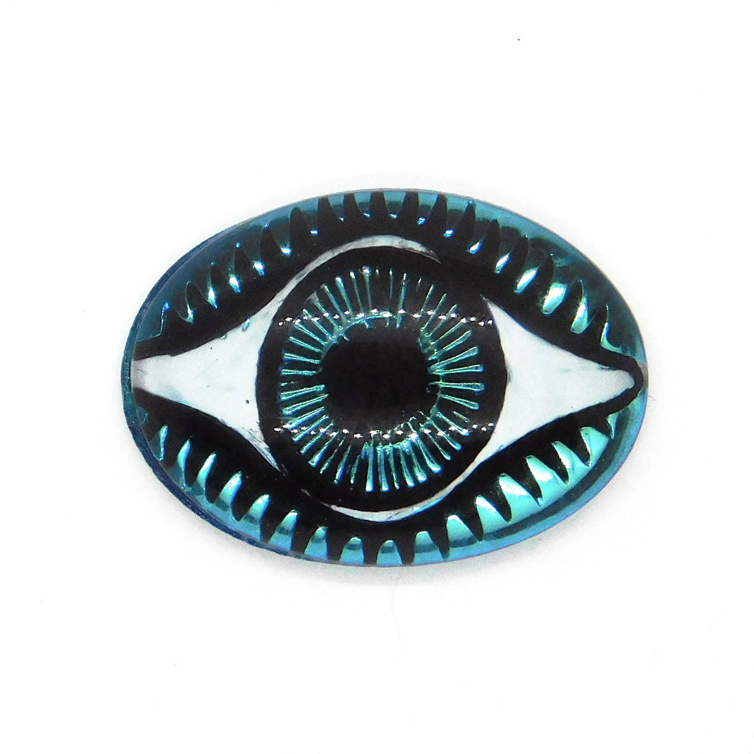 18x13mm Evil Eye Cab_Bermuda Blue_Glass Cabochon