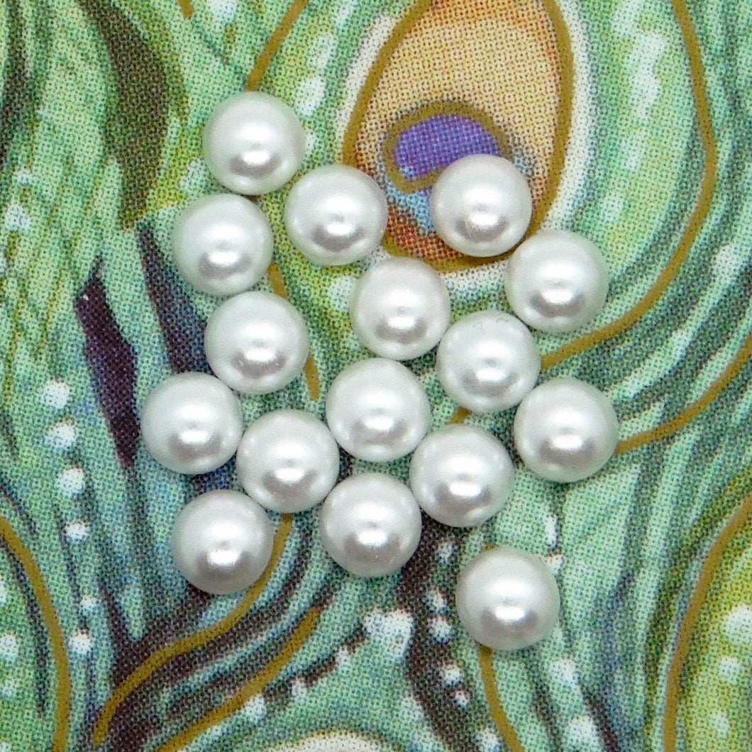 3mm White Pearl Cabochons_Preciosa_Czech Glass