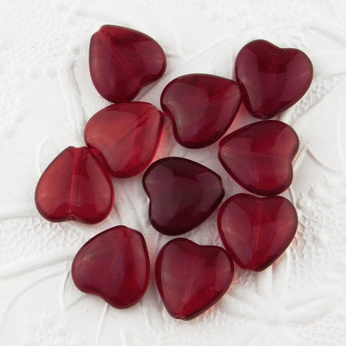 Ruby and Siam Red Heart Beads_16x15mm_25 pieces