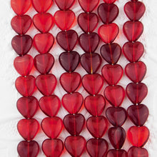 Red Glass Heart Beads_12x11mm_Ruby