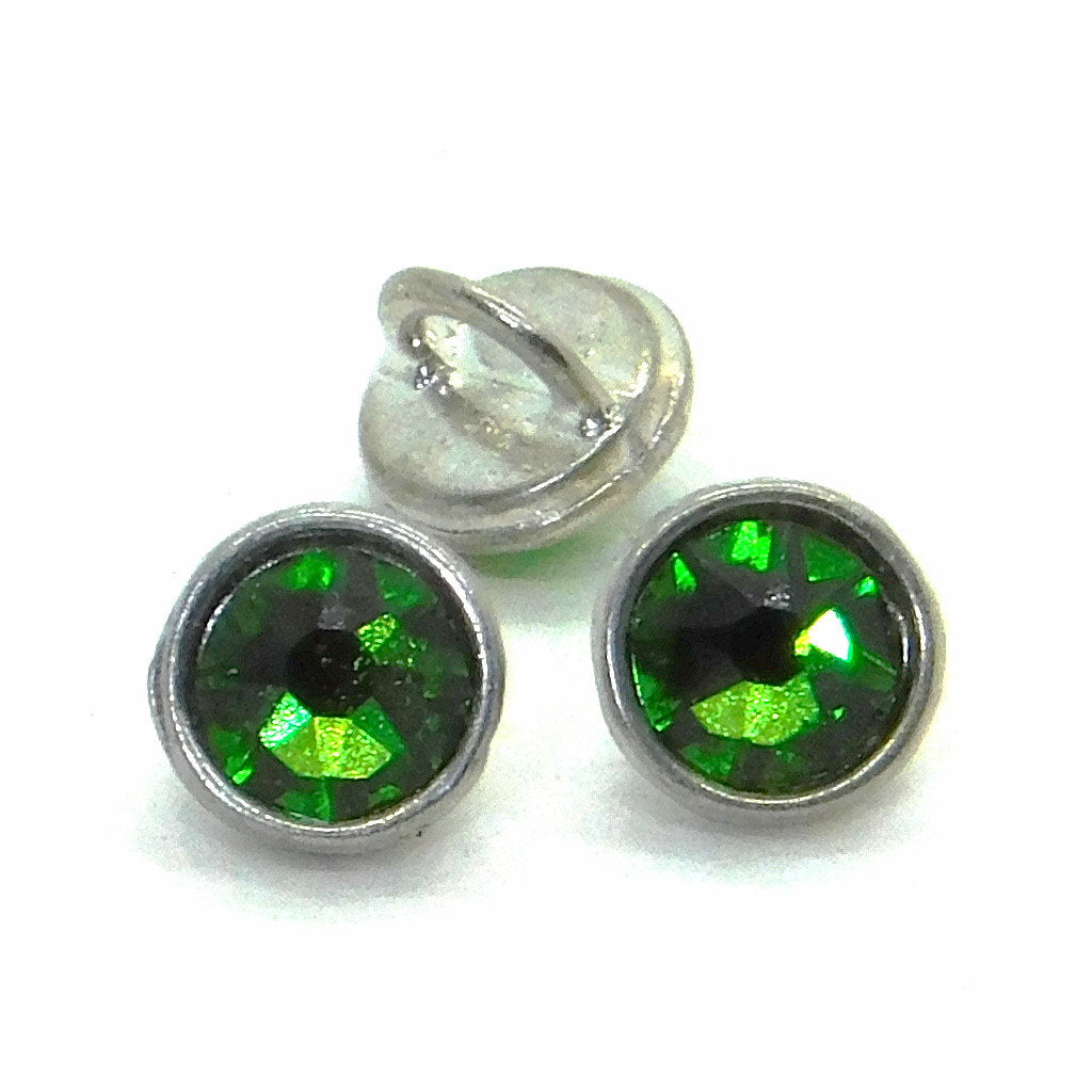 3mm Crystaletts Swarovski Crystal Buttons_Fern Green_Silver Plate