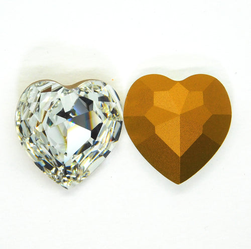 Vintage Swarovski #4827 Heart Stone_Crystal Gold Foil Backed_28mm