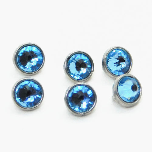 3mm Crystaletts Swarovski Crystal Buttons_Aquamarine_Silver Plate