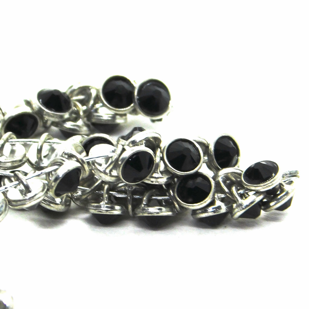 3mm Crystaletts Swarovski Crystal Buttons_Jet Black_Silver Plate