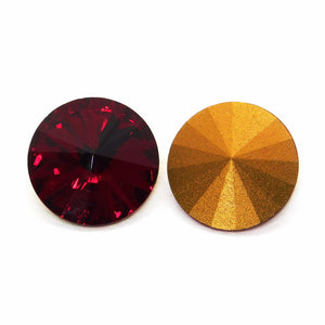 14mm Swarovski Crystal Vintage Rivolis_Siam Red Gold Foil_2 pieces