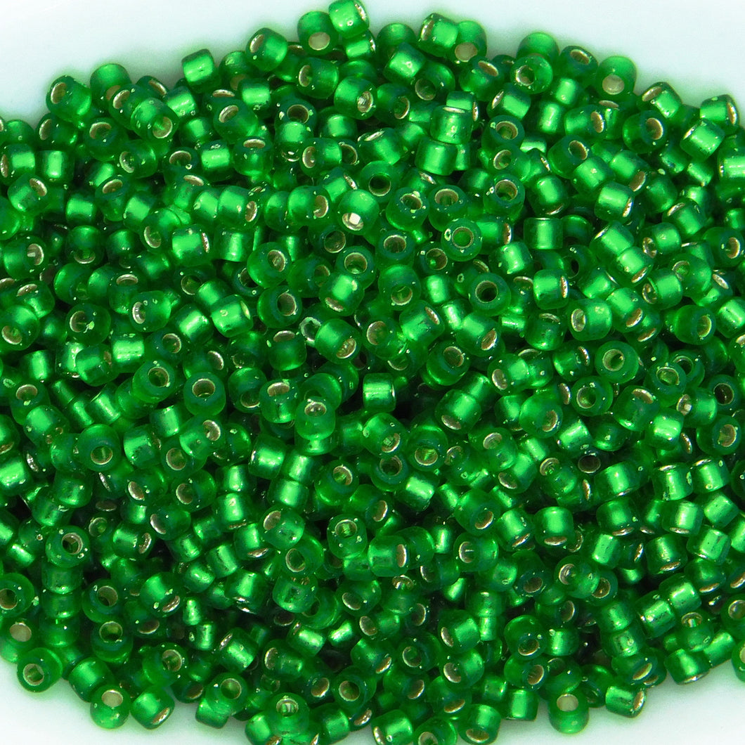 11/0 Delica Beads_DB688_Semifrost Silverlined Green