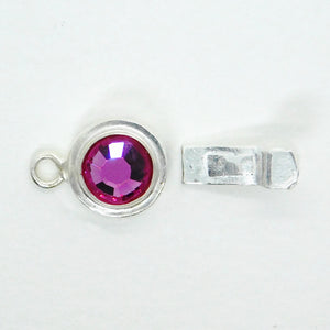 Fuchsia Crystal Box Clasp_12x22mm_Sterling Silverfill_Swarovski Crystal_Bridal Jewelry_Bridesmaid Jewelry