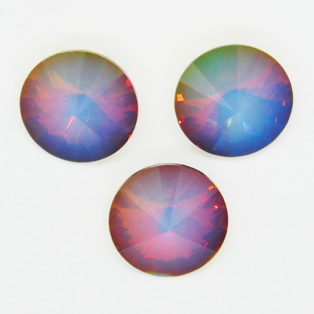 12mm Swarovski Rivolis_White Opal Volcano_2 Pieces