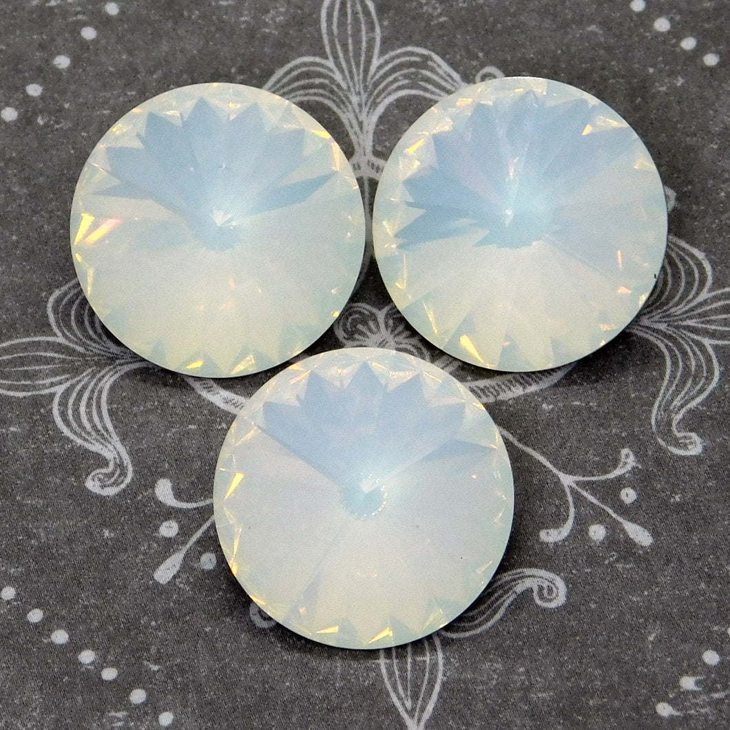 2) 12mm Swarovski Rivolis_White Opal_2 Pieces_Article #1122_Special Run_Lead Free_Advanced Crystal