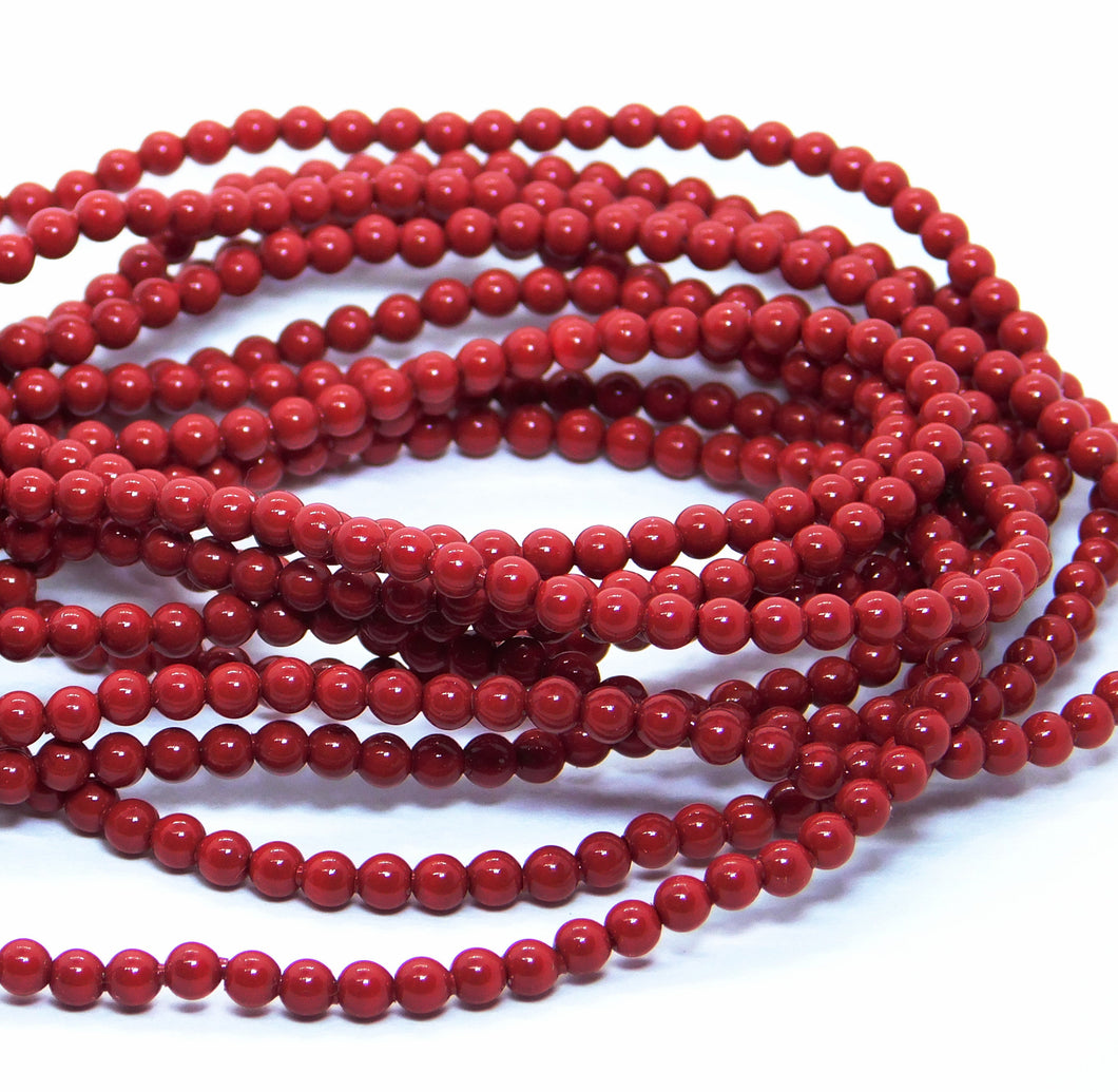 100 beads) 3mm Swarovski Crystal Pearls_Red Coral Pearl_Article #5810_Red Pearls_Jewelry Design