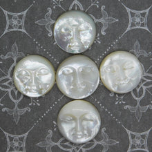 19mm Mother of Pearl Moon Face Cabochon_Ivory White_Moon Goddess