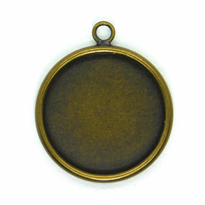 18mm Round Resin Bezel Pendant_Antiqued Brass_2 Pendants_Mixed Media_Resin Bezel_Crystal Clay_Jewelry Design