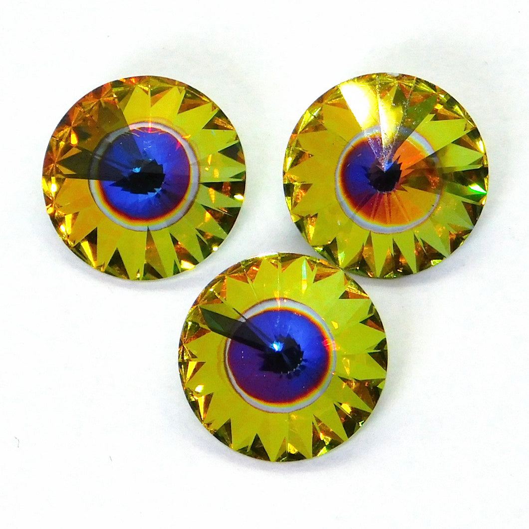 2) 12mm Swarovski Rivoli_Quasar_New Color_2 Pieces_Article #1122__Aftermarket Coating_Swarovski Crystal_Cabochon_