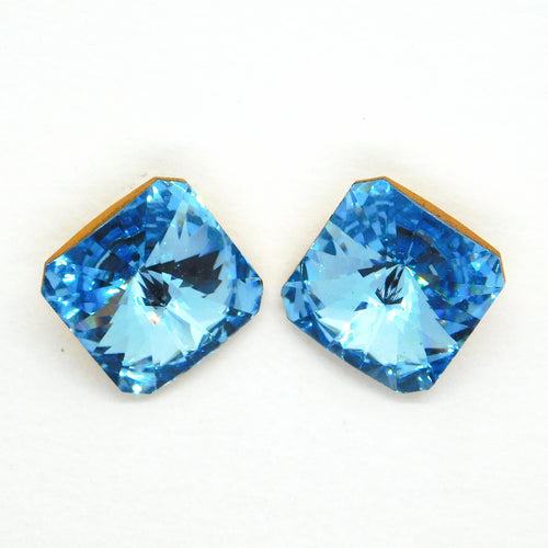 18mm Vintage Swarovski Square_Article 4650_Aquamarine Gold Foil Back