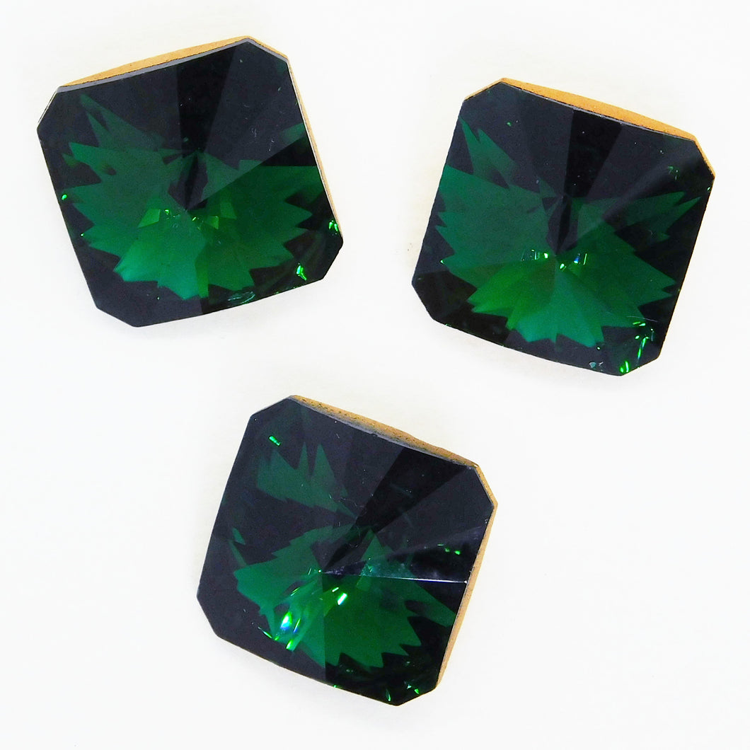 18mm Vintage Swarovski Square_Article 4650_Emerald Green Gold Foil Back_1970s_DS and Co_