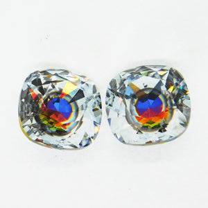 1) 12mm Swarovski Fancy Square Stone #4470_Polaris_New Color_Aftermarket Coating_Swarovski Crystal_Cabochon_