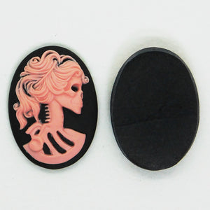 25x18mm Victorian Skull Cameo Cabochon_Pink on Black_2 pieces