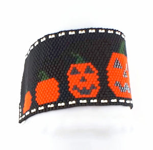 Instant Download Pattern_Peyote Stitch_Jack O'Lantern Pumpkin Patch Bracelet