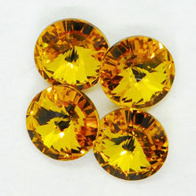 4) 39ss or 8mm Swarovski Crystal Rivolis_Sunflower Yellow_4 pieces_Jewelry Design_Cabochons_